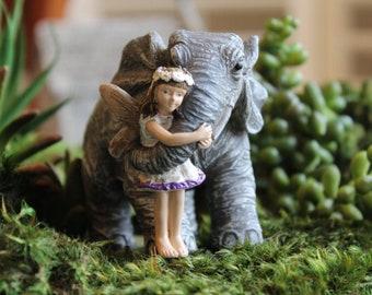 Fairy Garden Figurine with Elephant ~ Miniature Fairies and Horses for Gardens ~ Terrarium Miniatures ~ Fairy Garden Supply & Accessory
