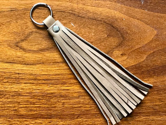Leather Tassel Keychain Saddletan / Boho Accessory / Lanyard Accessory