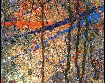 Original Painting - Abstract Painting with Yellows, Oranges, Blues & Glitter by David Lawter