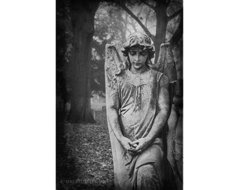 Cemetery Angel Black and White Photography Graveyard Art Dark Angel Statue Wings Female Portrait Michigan Autumn Fall Wall Art