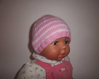 Wool newborn Hat great maternity (Pink/White)