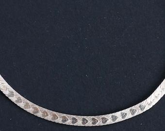Vintage Heart Herringbone Sterling Bracelet - Heart Sterling Chain