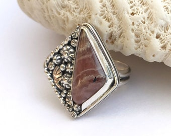 Rhodochrosite Ring, Size 8 1/2 Sterling Silver Metalsmith Nature Lover Pink Stone Flower Garden Bohemian Style Floral Design
