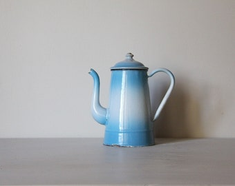 Vintage French Enamel Coffee Pot Vintage Blue