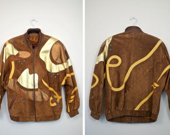 SALE!! Vintage Stay Gold Leather Gold Rodeo Bomber Jacket