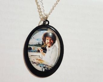 Bob Ross cameo necklace