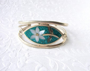 """Alpaca Mexico Cuff Bracelet Turquoise Blue Chip Inlay Mother Of Pearl MOP Flower Abalone Shell 6"""" 7"""" Silver Tone Boho Chic Festival Jewelry"""