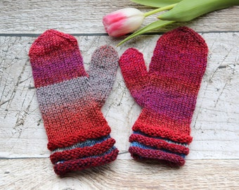 Childrens mittens, handknit gloves for children, stocking stuffers, winter fashion 3-6yrs