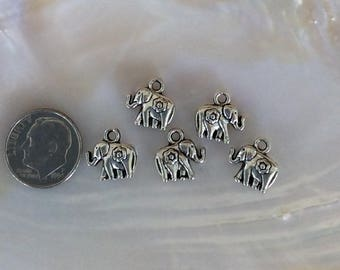 5 Small Elephant Charm, Antique silver plated pewter, Double Sided with top loop