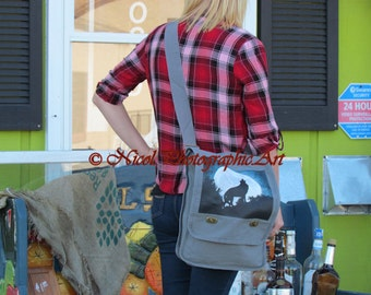 Wolf Moon Grey Canvas Cross Body Bag Messenger Bag Book Bag Laptop Bag A303