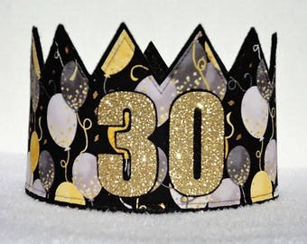 30th Birthday Crown, 30th Birthday Hat, Gold 30th Crown, Gold Birthday Crown, Birthday Party Hat, Adult Crowns, Adult Party Crown