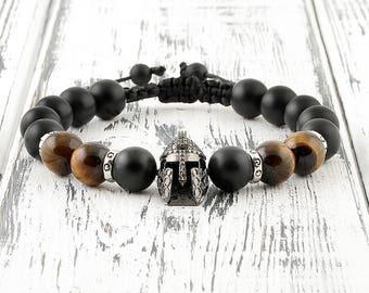Warrior bracelet Mens bracelets Helmet bracelet Black man bracelet Men bead bracelet Macrame bracelet Braided bracelet Men accessory for him