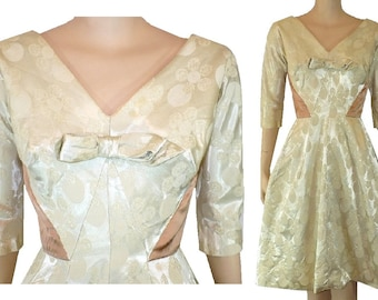 Winter White - Vintage 1960's Satin Jacquard Dress - X-Small 2