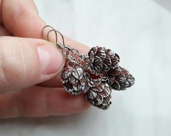 Pine earrings, autumn  earrings
