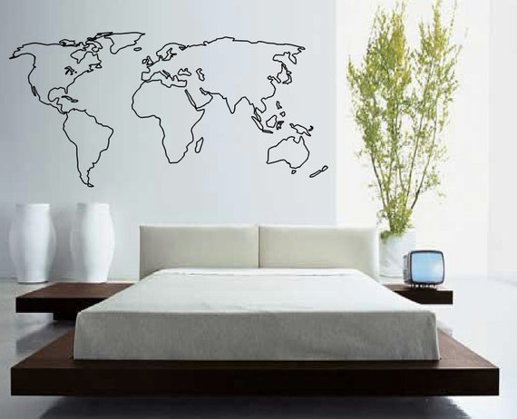 World map outline decal large world map wall decal wall world map outline decal large world map wall decal wall art home decor living room bedroom office gift idea gumiabroncs Image collections