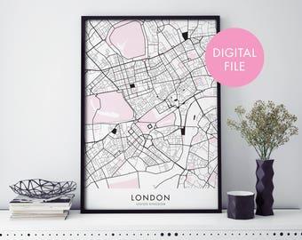 London Art, City Map Print Wall Art   Print At Home   Digital Download File