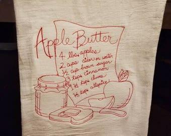 Apple Butter Recipe Tea Towel