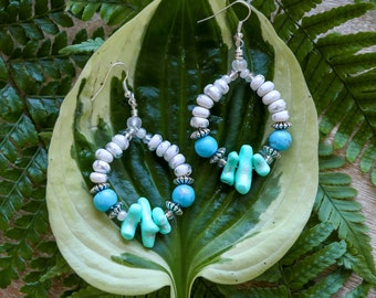 Turquoise Coral Hoop Earrings / Blue and Silver Statement Dangle Earrings / Beaded Silver Statement Earrings / Big Oversized Jewelry
