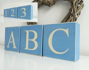 Nursery ABC reversible 123 letter blocks, Shabby Chic, painted in Annie Sloan