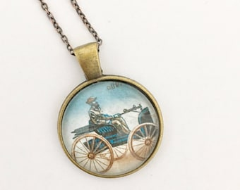 Early Automobile Postage Stamp Glass Pendant Necklace