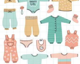 Baby girl clothes clipart - Hand drawn instant download PNG graphics  - 0013