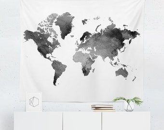 World map tapestry etsy black world map tapestry black world map wall tapestry watercolor map tapestry watercolor map wall tapestry black world map wall gumiabroncs Images