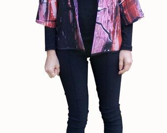 Abstract print kimono Jacket