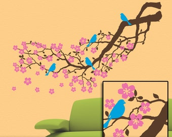 Tree Wall Decal Cherry Blossoms Branch Wall Decal, Cherry Tree Decal, Blue Bird Decals, Flower Decals (001612d2v)