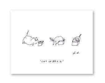 Cat in Box 2 - Cat Art -  Fine Art Print - Funny Cat Art - Ink Drawing - Wall Art- Cat Print