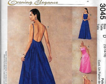 McCalls 3045 Misses Evening Elegance Formal Evening Gown Dress Sewing Pattern UNCUT Size 12, 14, 16