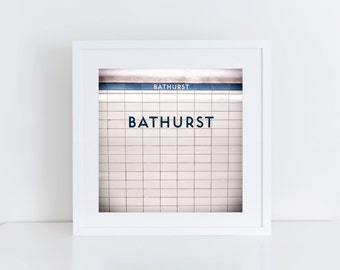 Toronto Subway Station Sign Print - Bathurst Station Retro Square Photograph - Made in Canada Toronto Art - Fits IKEA Ribba Frames