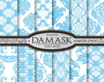 Baby Blue Damask Digital Paper - Pale Blue Damask Background Patterns for Printable Scrapbook Backdrops - Instant Download