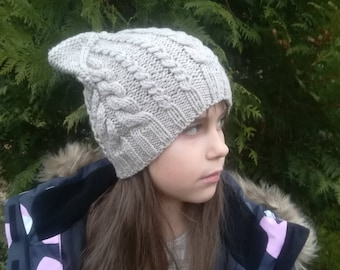 Cat ear beanie. Reflective  knit hat. Toddler/Kids/Adult winter hat. Merino/cashmere hat.Reflective hand knitted winter beanie Hat