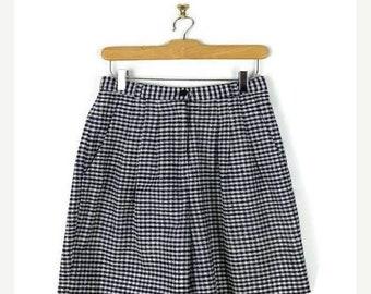 ON SALE Vintage Navy/White Checked /Plaid  High waist Silk flare Shorts/W26*