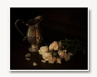 Dark still life photo, blush roses traditional still life, silver traditional dark beauty nature print, foodie art, fine art, home decor