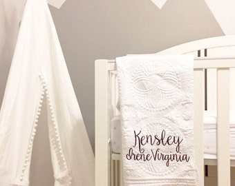 Embroidered Baby Quilt, Embroidered Baby blanket, monogram baby quilt, monogramed baby blanket, nursery bedding, personalized quilt
