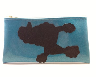 poodle Clutch! - black glitter clutch, dog clutch, blue sparkly clutch,  fun clutch, puppy clutch, made in Brooklyn
