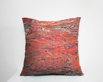 One of a kind Handpainted Pillow Cover - 20x20 inches - 50x50 cm - Marbling and Paint Technique