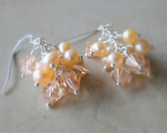 Crystal And Freshwater Pearls, Cluster Silver Plated Earrings, Peach, Apricot, Pale Tangarine, Pastel Orange