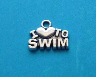 5 I love to Swim Charms Silver - I heart to Swim Charm Silver - CS2365