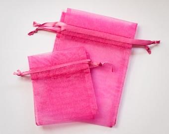 Pink Organza Bags, Wedding Favor Organza Bags