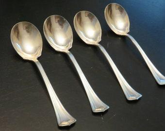 1847 Rogers Scotia Silverplate Soup Spoon set of Four, Set of Four Soup Spoons, IS Silverplate, Vintage Silverware Soup Spoon Set