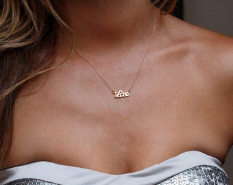 LOVE Necklace, Gold Love Necklace, Simple Everyday Necklace