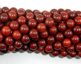 Red Sandalwood Beads, 8mm(8.3mm) Round Beads, 35 Inch, Full strand, Approx 108 Beads, Mala Beads (011733004)