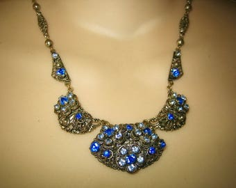 Antique 1920s Shades of Blue Rhinestone Lavalier Necklace W.Germany