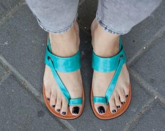 Turquoise Leather Sandals,Asymmetric Sandals, Summer Shoes, Turquoise Sandals, Flat Sandals , Free Shipping