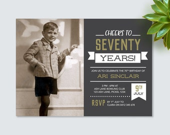 70th birthday invite etsy mens 70th birthday invitation for any age seventy birthday invite vintage chalkboard style invitation for men filmwisefo