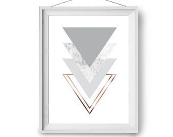 Scandinavian Print, Minimal Art, Gray Marble & Copper Print, Geometric Design, Wall Print, Gray Decor, Triangles Art, 50x70cm, Print Avenue