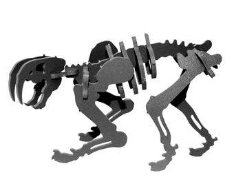 Dinosaur Puzzle, Dinosaur Toy, MINIATURE 3D Dinosaur Skeleton Puzzle, Recyclable PVC Smilodon, BLACK, Saber Tooth Tiger Toy
