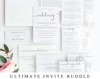 ULTIMATE DIY Wedding Invite Template Bundle Of 10 Different Designs, Home Print Wedding Invitation Template, Wedding Suite Instant Download
